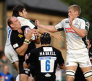 Wycombe, Great Britain, Wasps, Lawrence DALLAGLIO, gathers the ball, supported by James HASKELL, challenged by, right, James HUDSON and Gonzalo TIESE, during the EDF Energy, Anglo Welsh, rugby Cup match, London Wasps vs London Irish,  at Adams Park, England, 08/10/2006.[Photo, Peter Spurrier/Intersport-images]....