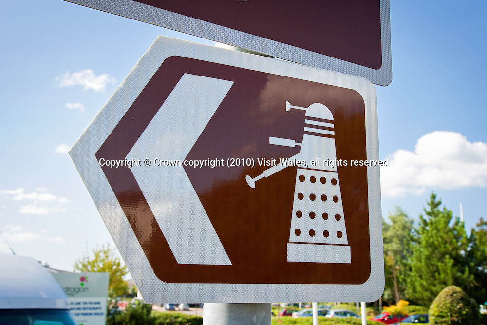 Dalek road sign (for Doctor Who Experience)<br /> Cardiff Bay<br /> Cardiff<br /> Signs