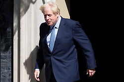 © Licensed to London News Pictures. 06/08/2019. London, UK. British Prime Minister Boris Johnson leaves 10 Downing Street to meet Estonian Prime Minister Jüri Ratas. The meeting takes place during Ratas' private visit to London. Photo credit: George Cracknell Wright/LNP