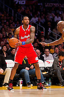 25 February 2011: Guard Randy Foye of the Los Angeles Clippers looks to pass the ball while playing against the Los Angeles Lakers during the first half of the Lakers 108-95 victory over the Clippers at the STAPLES Center in Los Angeles, CA.