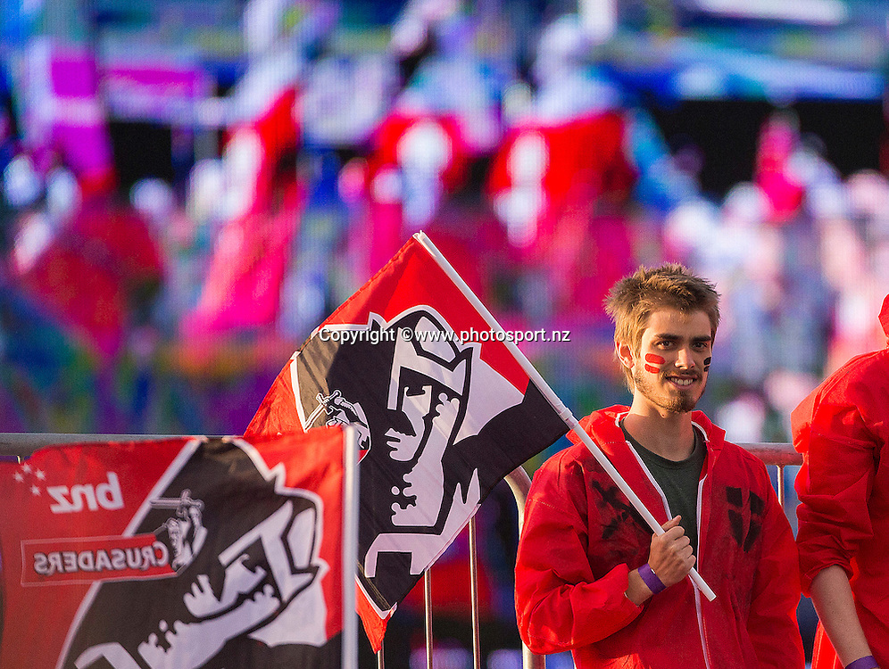 Crusader fan before the Super Rugby game between Crusaders v Blues held at AMI Stadium. 04 March 2016. Photo: Joseph Johnson / www.photosport.nz