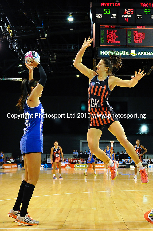 Jessica Moulds of the Tactix looks to block a shot from Maria Tutaia of the Mystics during the ANZ Championship netball game Canterbury Tactixs V Northern Mystics at  Horncastle Arena, Christchurch, New Zealand. 25th April 2016. Copyright Photo: John Davidson / www.photosport.nz