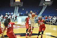 """Mississippi Lady Rebels guard Erika Sisk (5) shoots vs. Georgia at the C.M. """"Tad"""" Smith Coliseum in Oxford, Miss. on Thursday, January 15, 2015.  (AP Photo/Oxford Eagle, Bruce Newman)"""