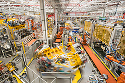 General view of Aluminium Body Shop 3, part of Jaguar Land Rover's Advanced Manufacturing Facility in Solihull, Birmingham. Picture date: Wednesday March 15th, 2017. Photo credit should read: Matt Crossick/ EMPICS. Aluminium Body Shop 3 is Europe's largest aluminium body shop, and is part of a £2bn investment in the Solihull plant over the last 5 years.