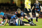 Ospreys scrum half Rhys Webb during the European Challenge Cup match between Ospreys and Stade Francais at Principality Stadium, Cardiff, Wales on 2 April 2017. Photo by Andrew Lewis.
