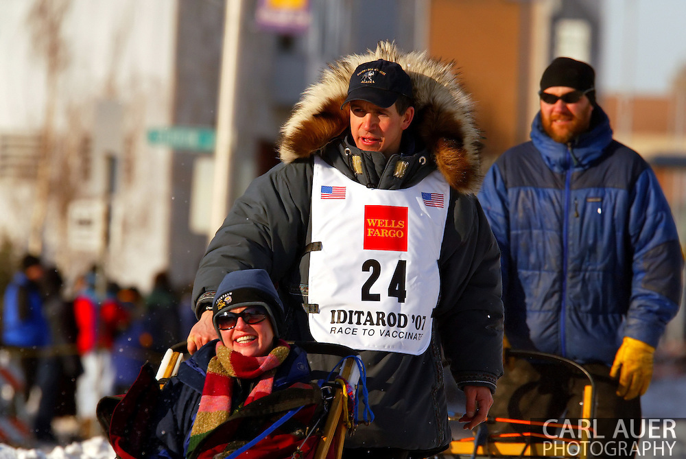 3/3/2007:  Anchorage Alaska -  Rookie Jon Korta of Galena, AK during the Ceremonial Start of the 35th Iditarod Sled Dog Race