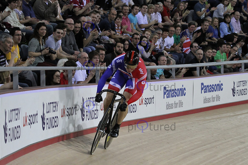 LONDON - FEBRUARY 19: Chris Hoy competes in the Men's Sprint at the UCI Track Cycling World Cup - Olympic Veledrome, Olympic Park, Stratford, London, UK on February 19, 2012. (Photo by Richard Goldschmidt)
