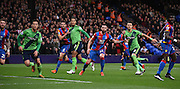 All eyes on the Southampton corner during the Barclays Premier League match between Crystal Palace and Southampton at Selhurst Park, London, England on 12 December 2015. Photo by Michael Hulf.