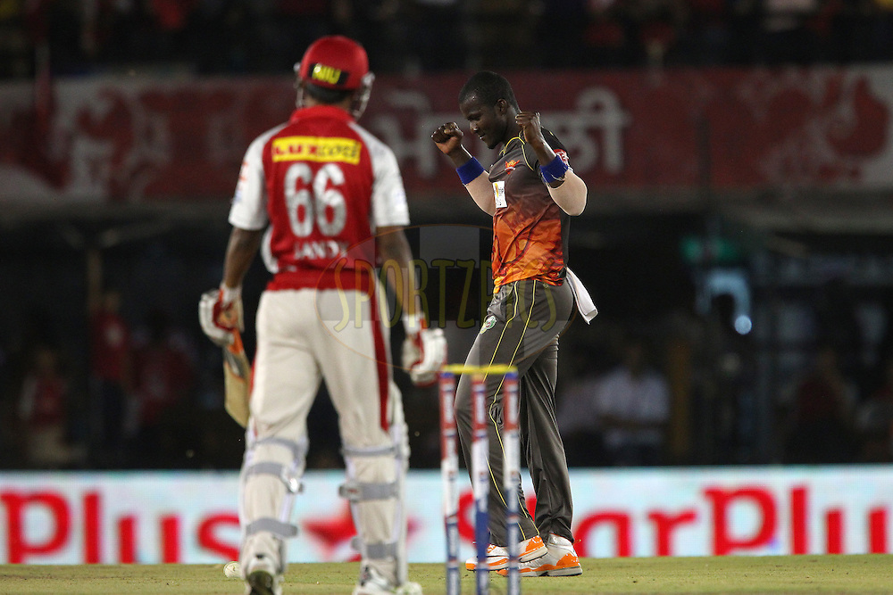 Darren Sammy celebrates the win during match 59 of of the Pepsi Indian Premier League between The Kings XI Punjab and the Sunrisers Hyderabad held at the PCA Stadium, Mohal, India  on the 11th May 2013..Photo by Ron Gaunt-IPL-SPORTZPICS ..Use of this image is subject to the terms and conditions as outlined by the BCCI. These terms can be found by following this link:..http://www.sportzpics.co.za/image/I0000SoRagM2cIEc