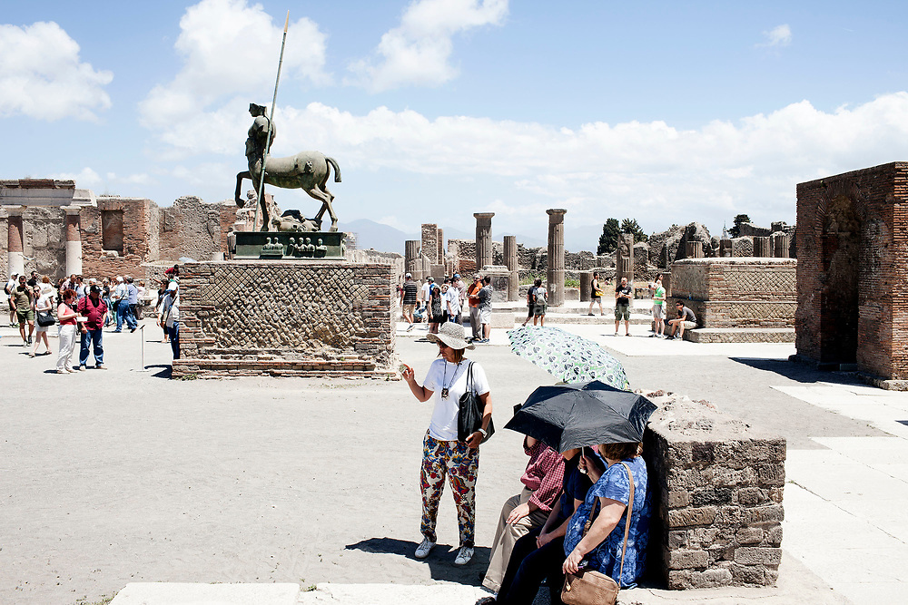 "20 May 2017, Pompei, Naples Italy - 20 May 2017, Pompei, Naples Italy - Tourists inside the ""Forum"" of ancient city of Pompeii."