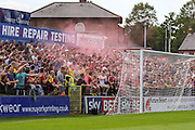 Middlesbrough fans celerate Bradley Fewsters goal during the Friendly match between York City and Middlesbrough at Bootham Crescent, York, England on 11 July 2015. Photo by Simon Davies.