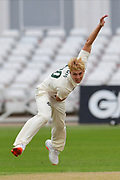 Joey Evison of Nottinghamshire bowling from the Pavillion end during the Bob Willis Trophy match between Nottinghamshire County Cricket Club and Derbyshire County Cricket Club at Trent Bridge, Nottingham, United Kingdon on 4 August 2020.