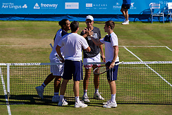 LIVERPOOL, ENGLAND - Sunday, June 18, 2017: Guillermo Cañas (ARG) and Robert Kendrick (USA) shake hands with Ken and Neal Skupski during Day Four of the Liverpool Hope University International Tennis Tournament 2017 at the Liverpool Cricket Club. (Pic by David Rawcliffe/Propaganda)