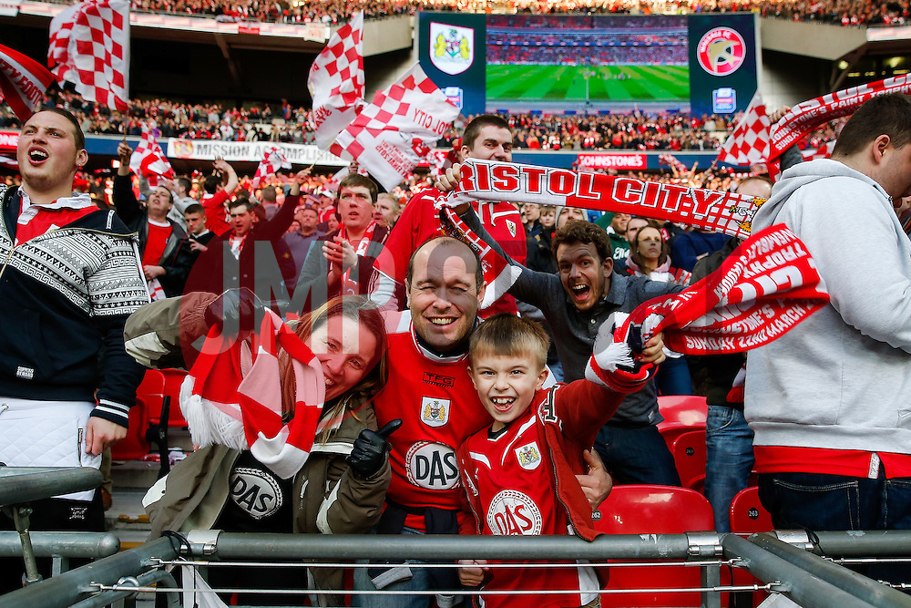 Bristol City supporters celebrate in the stands after their side win the match 2-0 - Photo mandatory by-line: Rogan Thomson/JMP - 07966 386802 - 22/03/2015 - SPORT - FOOTBALL - London, England - Wembley Stadium - Bristol City v Walsall - Johnstone's Paint Trophy Final.