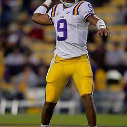 Oct 31, 2009; Baton Rouge, LA, USA;  LSU Tigers quarterback Jordan Jefferson (9) throws a pass in warm ups prior to kickoff against the Tulane Green Wave at Tiger Stadium.  Mandatory Credit: Derick E. Hingle