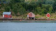 Old boat houses at Sandnes, Langøya, Vestrålen, Norway.