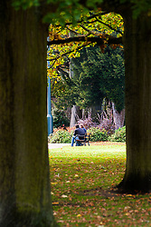 Young couple sit on a Bench in Weston Park Sheffield<br /> 21 October 2012<br /> Image © Paul David Drabble