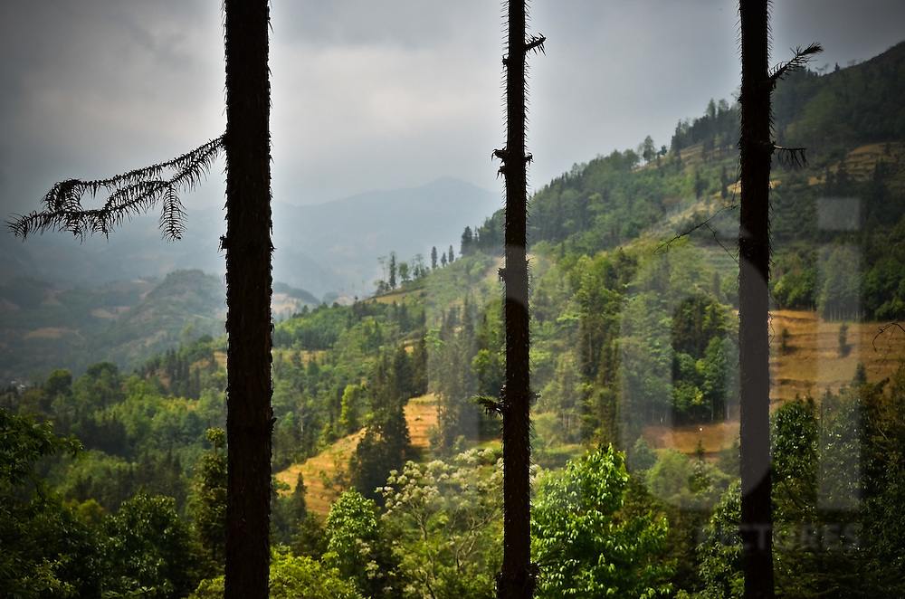 View of mountains behind the silhouette of three thin tree trunks,  in Bac Ha district, Lao Cai province, North Vietnam.