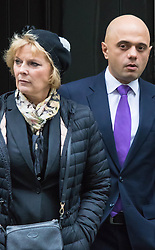 Downing Street, London, November 24th 2015. Small Business Minister Anna Soubry is acompanied by Secretary for Business Innovation and Kills Sajid Javid as they leave Downing Street following the weekly cabinet meeting. ///FOR LICENCING CONTACT: paul@pauldaveycreative.co.uk TEL:+44 (0) 7966 016 296 or +44 (0) 20 8969 6875. ©2015 Paul R Davey. All rights reserved.