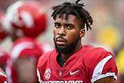 FAYETTEVILLE, AR - MARCH 6:   Jarques McClellion #4 of the Arkansas Razorbacks on the sidelines during the annual Spring Game at Razorback Stadium on March 6, 2019 in Fayetteville, Arkansas.  (Photo by Wesley Hitt/Getty Images) *** Local Caption *** Jarques McClellion
