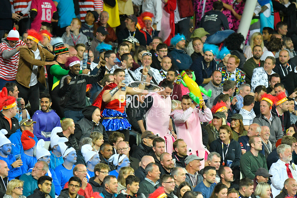 Fans in fancy dress doing the conga around the Hollies stand during the final of the Vitality T20 Finals Day 2018 match between Worcestershire Rapids and Sussex Sharks at Edgbaston, Birmingham, United Kingdom on 15 September 2018.