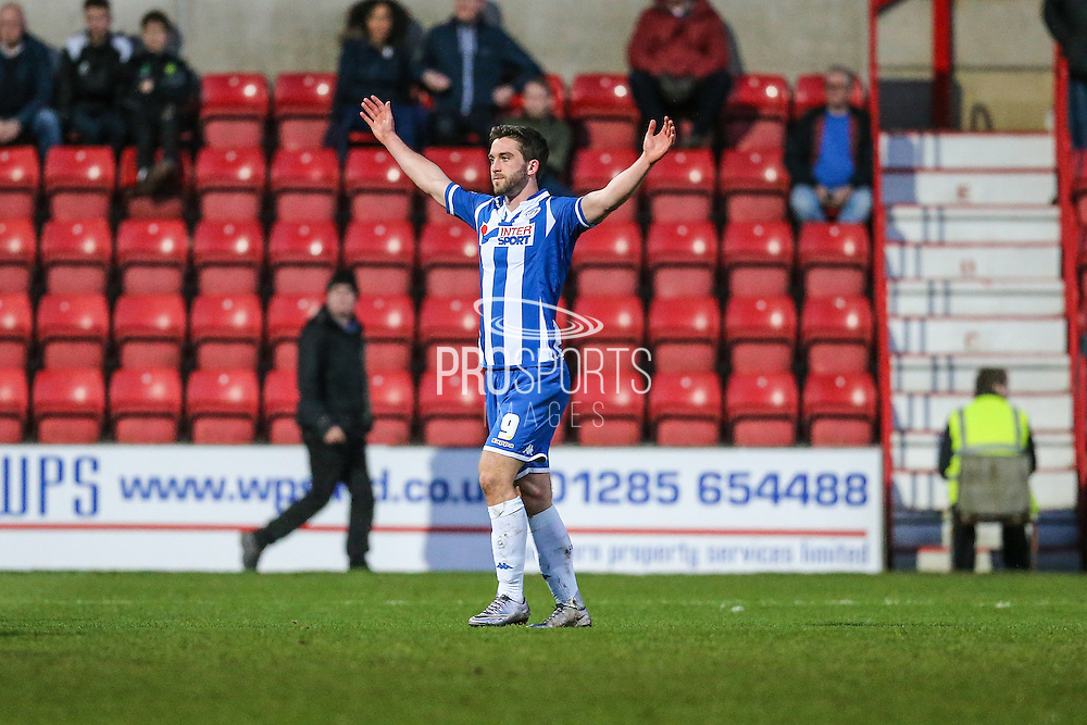 Wigan's Will Grigg celebrates putting his team 3-0 up during the Sky Bet League 1 match between Swindon Town and Wigan Athletic at the County Ground, Swindon, England on 25 March 2016. Photo by Shane Healey.