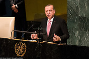 Recep Tayyip Erdogan, President of Turkey, addressing the General Assembly at the United Nations in New York City, NY on September 19, 2017.