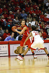 28 January 2007: Tiffany Hudson challenges Erika Nelson. Before a record crowd or nearly 4200, the Bradley Braves were defeated by the conference leading (9-0) Redbirds of Illinois State University by a score of 55-47 at Redbird Arena in Normal Illinois.