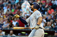PHOENIX, AZ - MAY 28:  Matt Kemp #27 of the San Diego Padres hits a solo home run during the first inning of the game against the Arizona Diamondbacks at Chase Field on May 28, 2016 in Phoenix, Arizona.  (Photo by Jennifer Stewart/Getty Images)