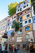 Facade of the Hundertwasserhaus, Vienna, Austria