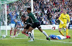 Peter Hartley of Plymouth Argyle celebrates his late goal to send his side to the League Two Playoff Final with Curtis Nelson - Mandatory by-line: Robbie Stephenson/JMP - 15/05/2016 - FOOTBALL - Home Park - Plymouth, England - Plymouth Argyle v Portsmouth - Sky Bet League Two play-off semi-final second leg