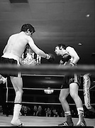 Nash vs Leon Championship Fight.    (N55)..1980..14.12.1980..12.14.1980..14th December 1980..At the Burlington Hotel, Dublin, Charlie Nash defended his European Lightweight Title when he took on Spain's Francesco Leon. .Image shows a struggling Nash as Leon connects with a right.