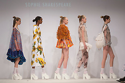 © Licensed to London News Pictures. 30/05/2015. London, UK. A model walks the runway during the Birmingham City University fashion show at Graduate Fashion Week 2015 wearing the collection of graduate student Sophie Shakespeare. Graduate Fashion Week takes place from 30 May to 2 June 2015 at the Old Truman Brewery, Brick Lane. Photo credit : Bettina Strenske/LNP