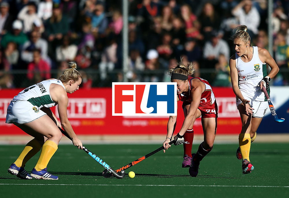 JOHANNESBURG, SOUTH AFRICA - JULY 16:  Kathleen Sharkey of United States of America battles with Nicole Walraven of South Africa during day 5 of the FIH Hockey World League Women's Semi Finals Pool B match between South Africa and United States of America at Wits University on July 16, 2017 in Johannesburg, South Africa.  (Photo by Jan Kruger/Getty Images for FIH)