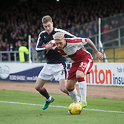 Dundee&rsquo;s Kevin Holt closes down Rangers&rsquo; Martyn Waghorn - Dundee v Rangers in the Ladbrokes Scottish Premiership at Dens Park, Dundee.Photo: David Young<br /> <br />  - &copy; David Young - www.davidyoungphoto.co.uk - email: davidyoungphoto@gmail.com