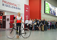Television and radio presenter Jenni Falconer opens the Prudential RideLondon Cycling Show at the Excel Centre. A veteran of four London marathons, Jenni will be riding for the first time in this year's Prudential RideLondon-Surrey 100 as part of Team Telegraph. The show is part of the world&rsquo;s greatest festival of cycling, involving 95,000+ cyclists &ndash; from Olympic champions to a free family fun ride - riding in five events over closed roads in London and Surrey over the weekend of 1st and 2nd August 2015. <br /> <br /> Photo: Thomas Lovelock for Prudential RideLondon<br /> <br /> See www.PrudentialRideLondon.co.uk for more.<br /> <br /> For further information: Penny Dain 07799 170433<br /> pennyd@ridelondon.co.uk