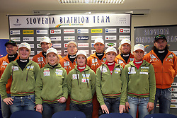 Slovenian biathlon team at the press conference before the World Chamionship in Sweden, ÷stersund, in Ljubljana on February 5, 2008. (Photo by Vid Ponikvar / Sportal Images).