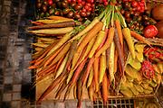 Israel, Tel Aviv, Lewinski market, fruit and vegetable shop in the narrow street