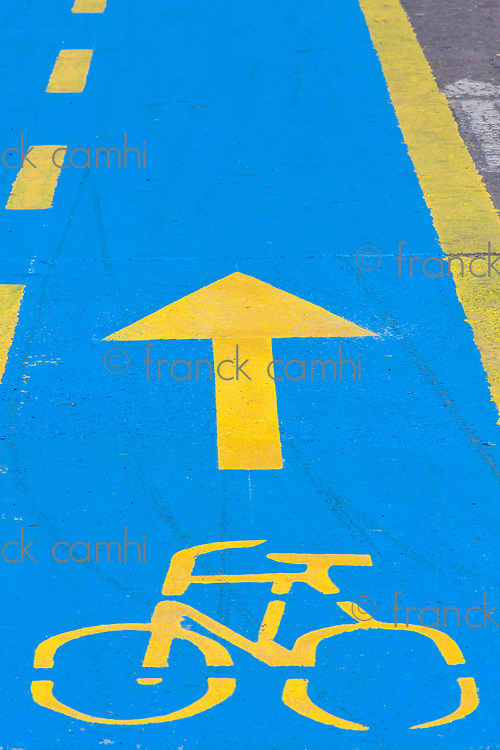 cyclist cycling path Carrera Septima in Bogota capital city of Colombia South America