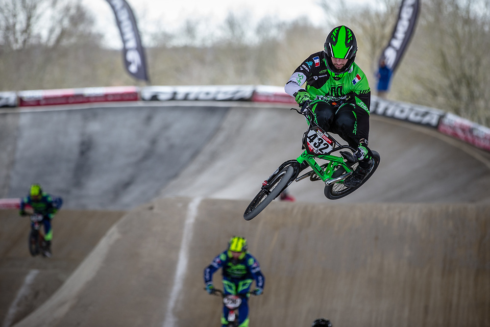 #432 (LE NAGARD Karl) FRA at Round 2 of the 2018 UCI BMX Superscross World Cup in Saint-Quentin-En-Yvelines, France.