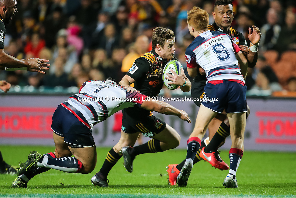 Chiefs halfback Brad Weber in action during the Super Rugby match - Chiefs v Rebels played at FMG Stadium Waikato, Hamilton, New Zealand on Saturday 21 May 2016. <br /> <br /> Copyright Photo: Bruce Lim / www.photosport.nz