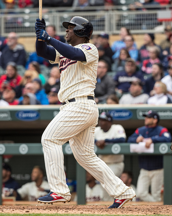 MINNEAPOLIS, MN- APRIL 5: Miguel Sano #22 of the Minnesota Twins bats against the Kansas City Royals on April 5, 2017 at Target Field in Minneapolis, Minnesota. The Twins defeated the Royals 9-1. (Photo by Brace Hemmelgarn) *** Local Caption *** Miguel Sano