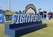 Jul 29, 2018; Costa Mesa, CA, USA; Fight for LA sign at Los Angeles Chargers training camp at Jack R. Hammett Sports Complex.