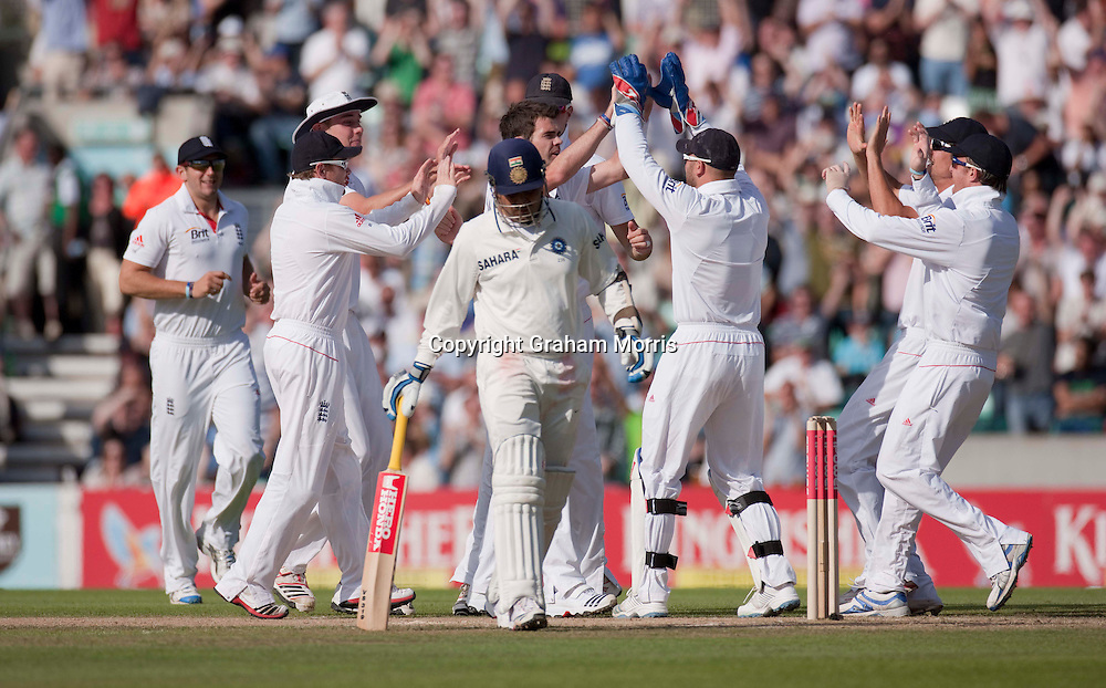 Bowler James Anderson celebrates the lbw of Virender Sehwag (walking off)  during the fourth and final npower Test Match between England and India at the Oval, London.  Photo: Graham Morris