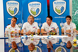 Head Coach Veselin Vukovic, assistant coach Tine Sattler, Director of OZS Mitja Kozelj and General manager of OZS Gregor Humerca at press conference of Slovenian Volleyball team before departure to Men's European Volleyball Championship 2011 Austria, on September 7, 2011, in Ljubljana, Slovenia. (Photo by Matic Klansek Velej / Sportida)
