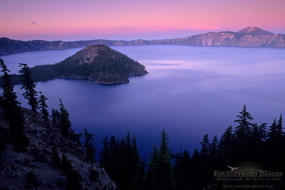 Evening light over Crater Lake, Crater Lake National Park, Oregon