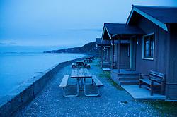 Cabins and Picnic Tables, Cama Beach State Park, Camano Island, Washington, US