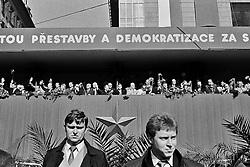 CESKOSLOVENSKO 80s - Ceskoslovenska socialisticka republika<br /> Praha,1.kveten 1989<br /> 1.Maj, oslava &quot;svatku prace&quot;. na tribune komunisticka nomenklatura roku 1989.Praha,1.kveten 1989