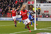 Rotherham United player Kyle Vassell (7) celebrates scoring goal to go 1-0  during the EFL Sky Bet League 1 match between Rotherham United and Bristol Rovers at the AESSEAL New York Stadium, Rotherham, England on 18 January 2020.