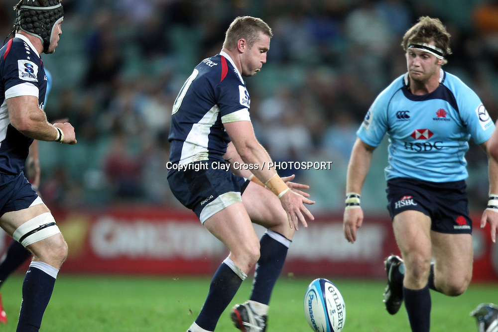 James Hilgendorf  kicking. NSW Waratahs v Melbourne Rebels. Investec Super Rugby Round 11 Match, 30 April 2011. Sydney Football Stadium, Australia. Photo: Clay Cross / photosport.co.nz